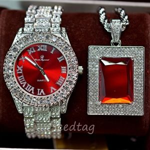 Other - Full Iced Out watch and XL Size Ruby Necklace Set
